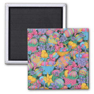 Easter Baskets and Eggs Square Magnet
