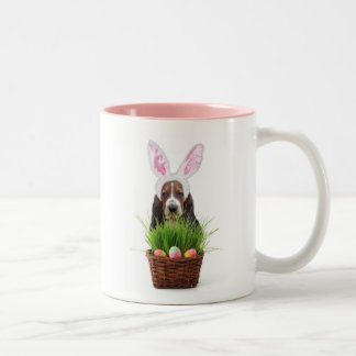 Easter Basset Hound two tone coffee mug
