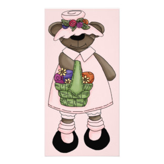 Easter Bear with Pink Dress and Hat Custom Photo Card