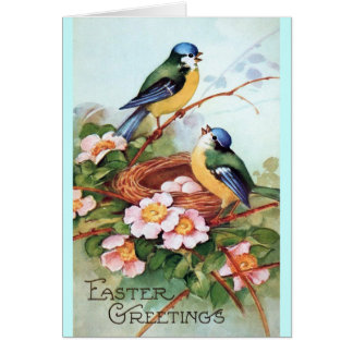 Easter Birds and Nest Greeting Card