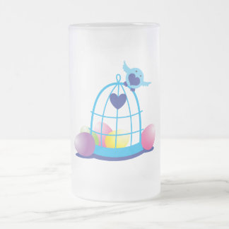 easter birdy frosted glass beer mug