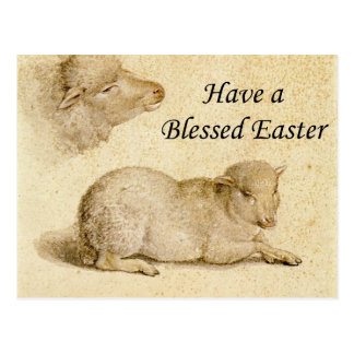 Easter Blessing Holbein Resting Lamb Art Postcard