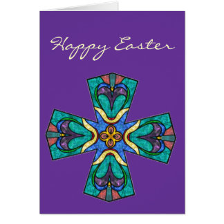 Easter Blessing Stained Glass Cross Card