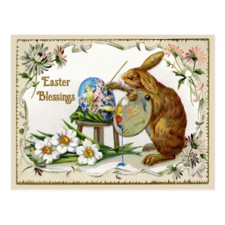 Easter Blessings Artist Bunny Vintage Reproduction Postcard