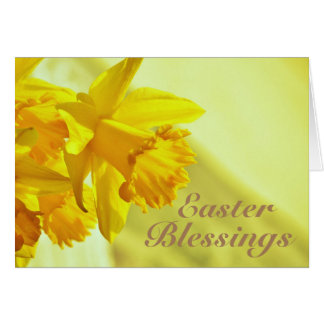 Easter Blessings, John 11:25-26, Daffodils Card