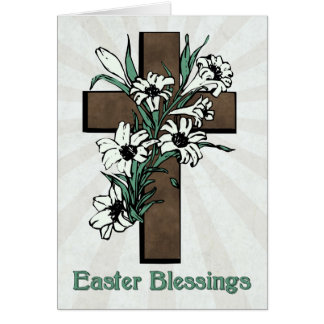 Easter Blessings w/ Cross and Lilies with Sunburst Card