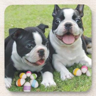 Easter Boston terriers Drink Coaster