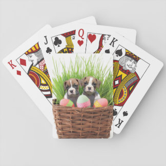 Easter Boxer puppies playing cards