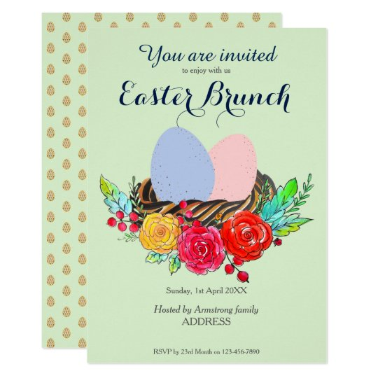 Easter Brunch Eggs in Nest in Floral Watercolor Card