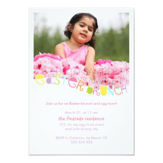 "Easter Brunch Kids Photo Easter Party Colourful 5"" X 7"" Invitation Card"