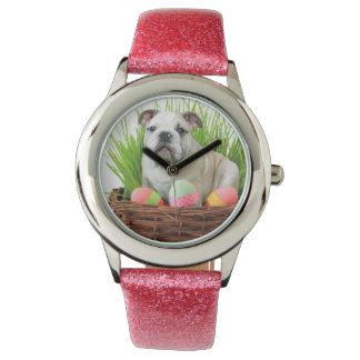 Easter Bulldog dog Wrist Watch