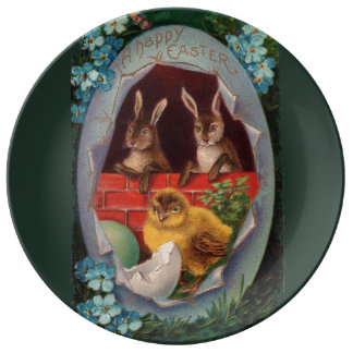 Easter Bunnies and Chick Porcelain Plate