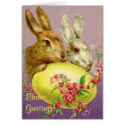 Easter Bunnies and Egg Vintage Greeting Card