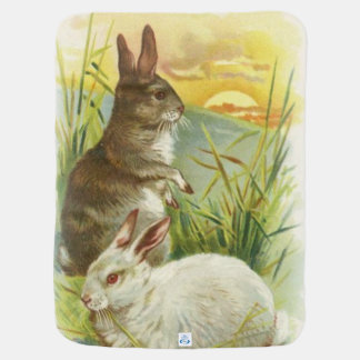 Easter Bunnies at Sunrise Baby Blanket