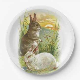 Easter Bunnies at Sunrise Paper Plate