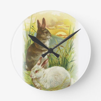 Easter Bunnies at Sunrise Round Clock