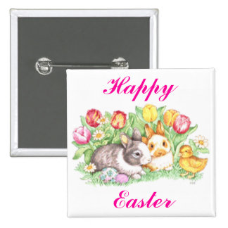 Easter Bunnies, Duckling and Tulips 2 Inch Square Button