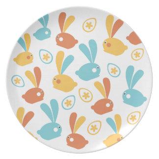 Easter Bunnies illustration Plate