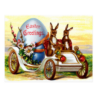 Easter Bunnies in Automobile Postcard