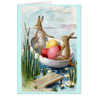 Easter Bunnies Rowboat Greeting Card