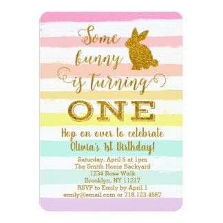 Easter Bunny 1st Birthday Invitation Some Bunny