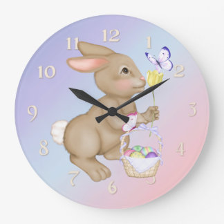 Easter Bunny and Basket Large Clock