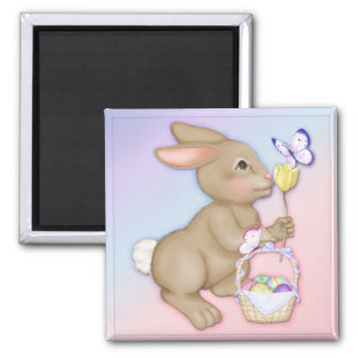 Easter Bunny and Basket Square Magnet