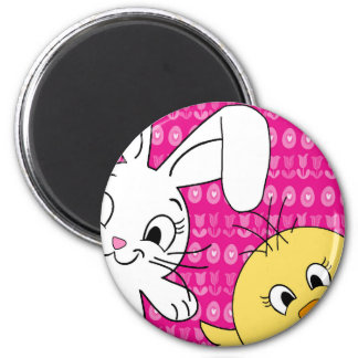 Easter bunny and chick 2 inch round magnet
