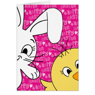 Easter bunny and chick card