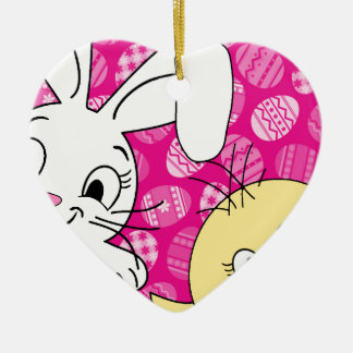 Easter bunny and chick ceramic ornament