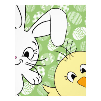 Easter bunny and chick customized letterhead