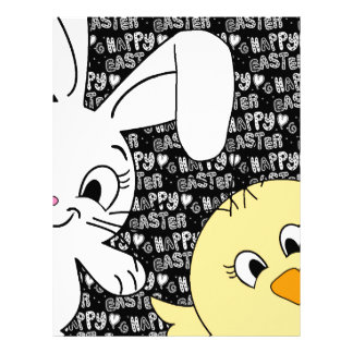 Easter bunny and chick letterhead template