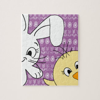 Easter bunny and chick puzzles