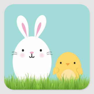 Easter bunny and chick sticker