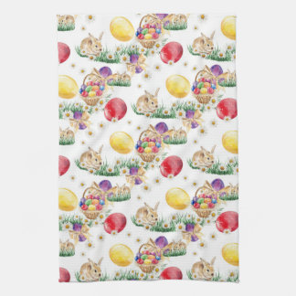 Easter bunny and colorful eggs kitchen towel