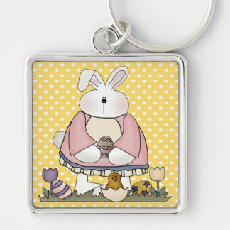 Easter Bunny and Easter Eggs Silver-Colored Square Keychain