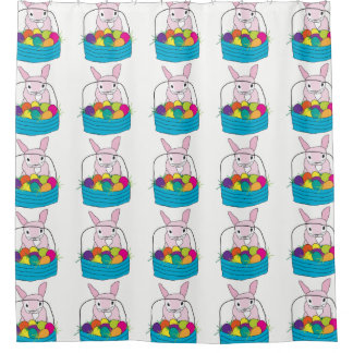 Easter Bunny and Easter Eggs Shower Curtain