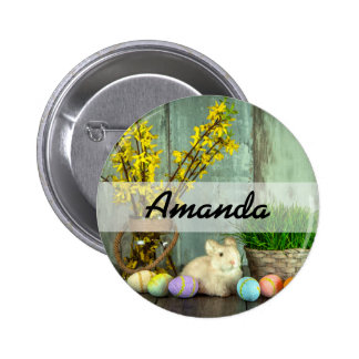 Easter Bunny and Egg Scene 2 Inch Round Button