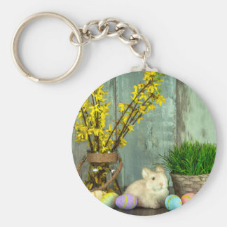 Easter Bunny and Egg Scene Basic Round Button Keychain