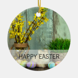 Easter Bunny and Egg Scene Ceramic Ornament