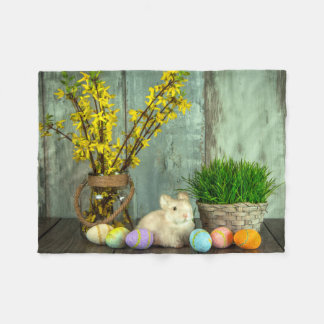 Easter Bunny and Egg Scene Fleece Blanket
