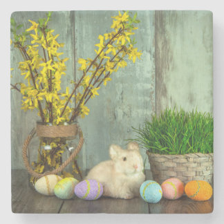 Easter Bunny and Egg Scene Stone Coaster