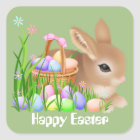 Easter bunny and eggs Holiday party sticker