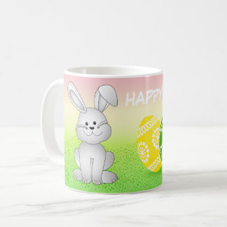 EASTER BUNNY AND EGGS, ILLUSTRATION HAPPY EASTER COFFEE MUG