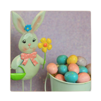 Easter Bunny and Eggs Maple Wood Coaster