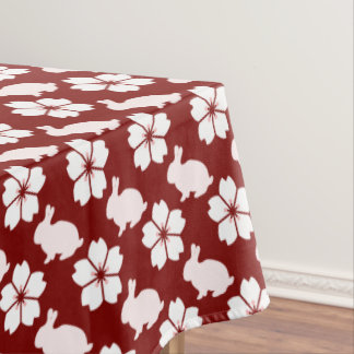 Easter bunny and flower pattern tablecloth