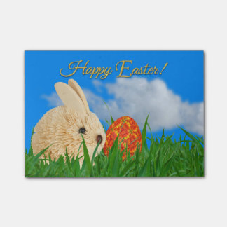 Easter Bunny and Flowered Egg on Grass Post-it Notes