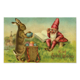 Easter Bunny And Gnome Vintage Greeting Poster