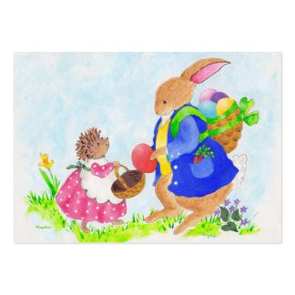 Easter bunny and Heddy hedgehog Large Business Card