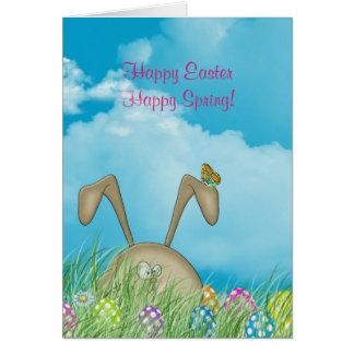 Easter bunny and polka dot eggs card
